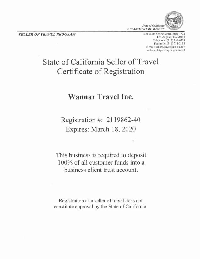 Wannar California Seller of Travel