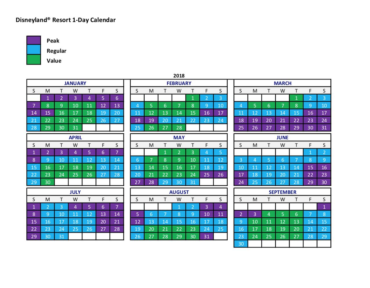 Disneyland Calendar: Peak=Peak Season; Regular=Regular Season; Value=Off Season