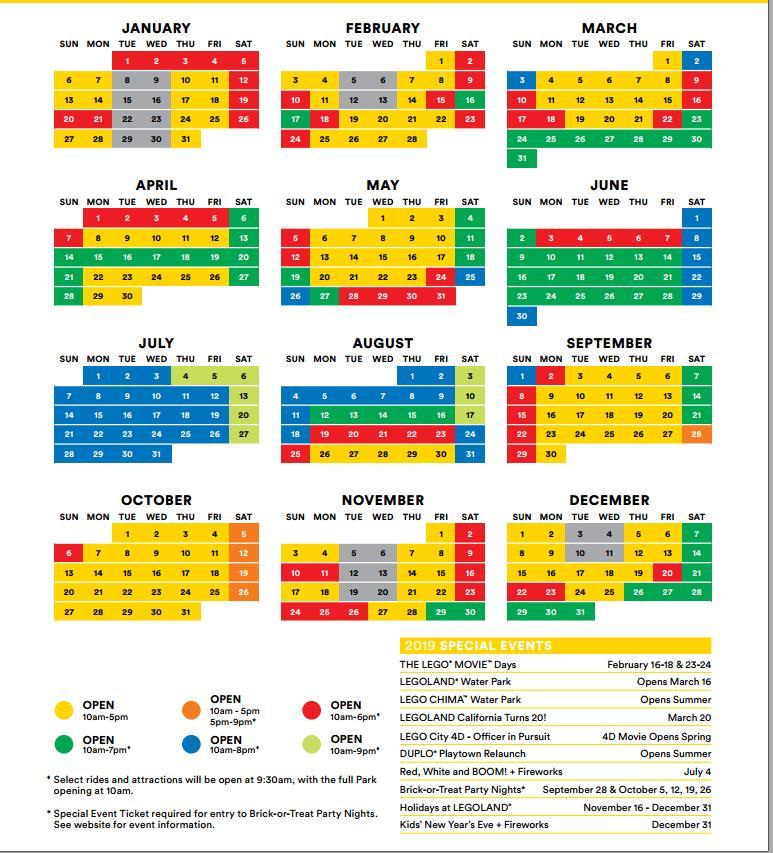 LEGAOLAND Operating schedule in 2019